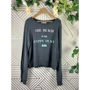 Wildfox The Beach Is My Happy Place Gray Jumper